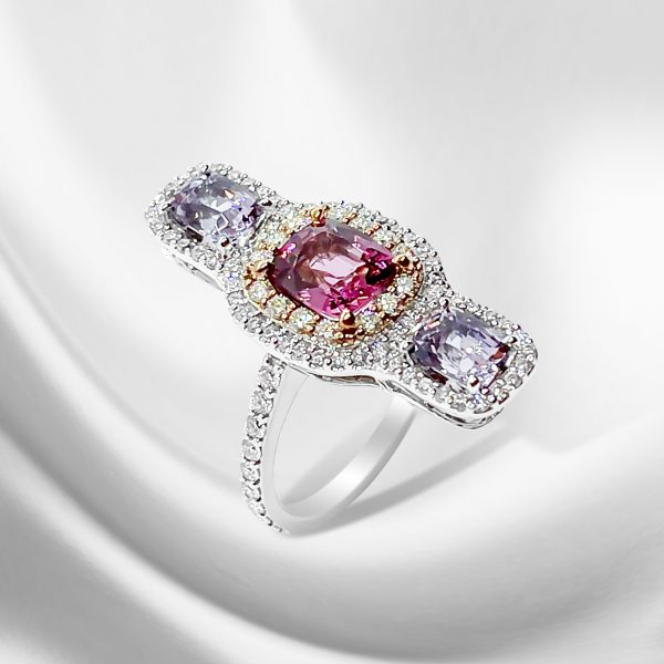 Modern 1.62ct Pink and Lilac Spinel Three Stone Ring with Diamonds