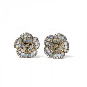 Pale Blue Plique a Jour Enamel and Diamond Flower Earrings