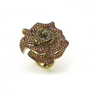 Orange and Yellow Sapphire Rose Floral Cluster Ring, 11.03 carats