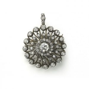 Antique Victorian Old Cut Diamond Circular Cluster Pendant Brooch, 5.5cts
