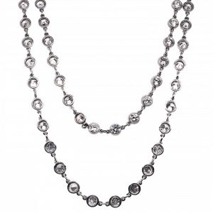 Modern Diamond and Platinum Chain Necklace, 7.77 carats