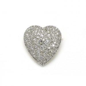 Vintage Old Cut Diamond Heart Brooch Pendant, 6.50 carats