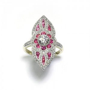 Belle Epoque Style Ruby and Diamond Cluster Plaque Ring