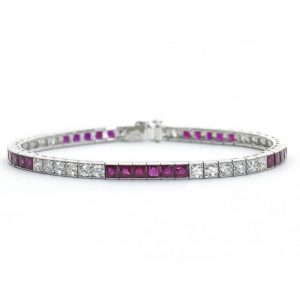 French Cut Ruby and Diamond Line Bracelet in Platinum, 23.50 carats