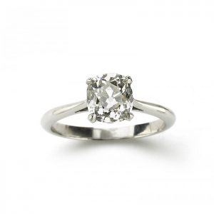 Cushion Cut Diamond Solitaire Engagement Ring in Platinum, 1.64 carats