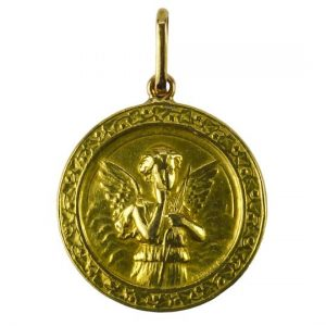 French Cupid and Lovebirds 18ct Yellow Gold Charm Pendant