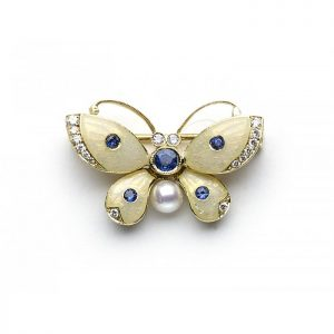Enamel Butterfly Brooch with Pearl, Sapphires and Diamonds