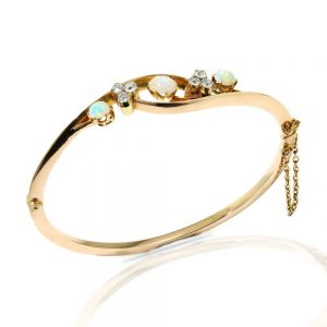 Antique Victorian Opal and Diamond Bangle Bracelet, Circa 1860