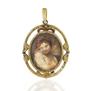 Antique Italian Gold Pendant with Oil Portrait, Circa 17th to 18th Century