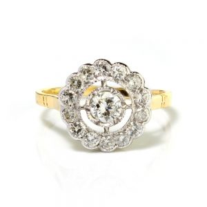 Diamond Floral Cluster Ring, 1.38 carats G VS1