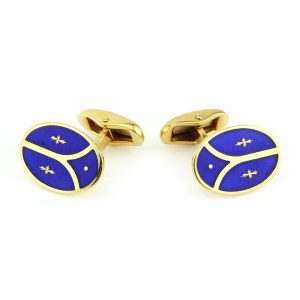 Faberge Limited Edition 18ct Gold Blue Enamel Cufflinks, Box Certificate