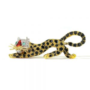 Italian Vintage Gold and Enamel Leopard Brooch with Diamonds