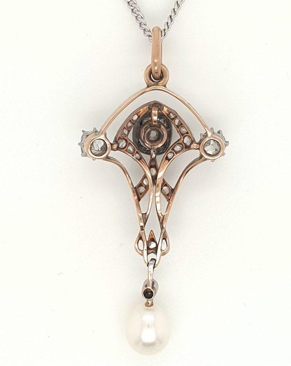 Antique Art Nouveau Pear pendant old cuts diamonds