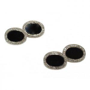 Art Deco Black Onyx and Diamond Cufflinks