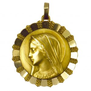 French Virgin Mary 18ct Yellow Gold Pendant by Emile Dropsy