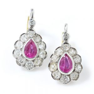 Art Deco Pink Sapphire and Old Cut Diamond Pear Cluster Drop Earrings