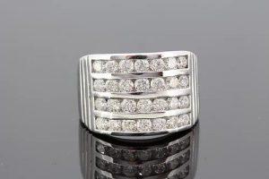 Channel Set Four Row Diamond Dress Ring