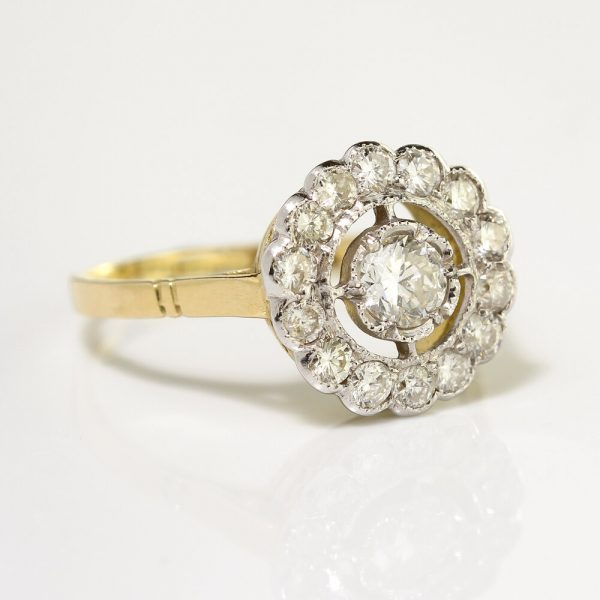 Diamond Floral Cluster Ring; 1.38 carat total, central 0.40ct G VS1 brilliant-cut diamond within diamond fixed halo surround, in 18ct yellow gold