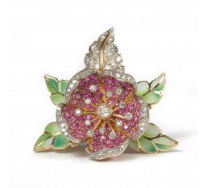 Ruby, Diamond and Plique A Jour Enamel Flower Brooch