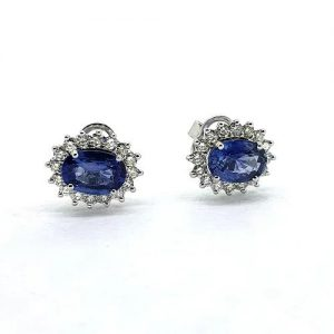 3.46ct Sapphire and Diamond Oval Cluster Stud Earrings