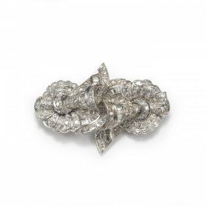 Vintage 1950s Diamond and Platinum Brooch, 5.00 carat total