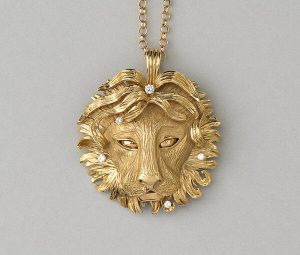 Vintage Gold Leo Lion Pendant with Diamonds, Circa 1970