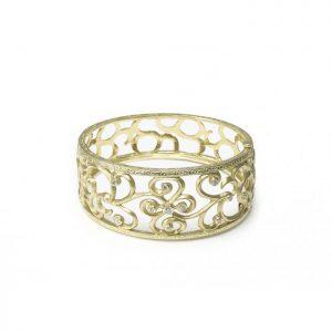 Diamond and Gold Swirl Bangle Bracelet
