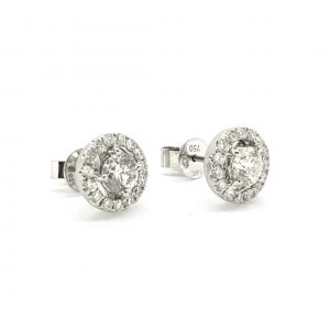 Diamond Halo Cluster Stud Earrings, 1.50 carats