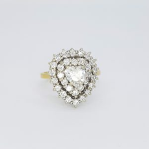 Vintage Diamond Heart Shaped Cluster Ring, 1.70 carat total
