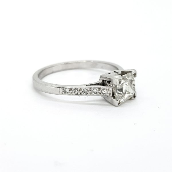 1.01ct Octagonal Cut Diamond Engagement Ring with Diamond Shoulders