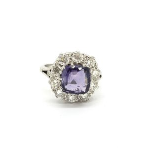 Natural Purple Sapphire and Old Cut Diamond Cluster Ring, 3.81 carats
