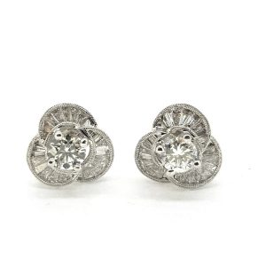 Baguette and Brilliant Diamond Floral Cluster Stud Earrings, 2.22 carats