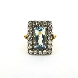 Vintage 4ct Aquamarine and Old Cut Diamond Cluster Ring