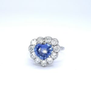Vintage Sapphire and Diamond Heart Cluster Ring