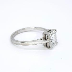 Radiant Cut Diamond Solitaire Engagement Ring, 1.69 carats H colour