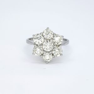 Diamond Daisy Floral Cluster Ring, 2.30 carat total