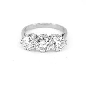 Diamond Three Stone Ring in Platinum, 2.34 carats G colour