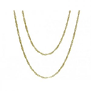 Antique Victorian 18ct Yellow Gold Fancy Link Long Chain Necklace