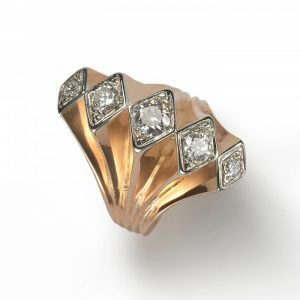 Vintage 1940s Diamond Five Row Fan Cocktail Ring in 18ct Yellow Gold