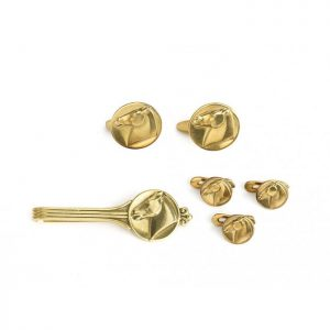 Georg Jensen 18ct Gold Horse Dress Set, designed by Arno Malinowski, Comprises of tie clip, cufflinks and studs, with a horse head design, Signed and Numbered, Circa 1960