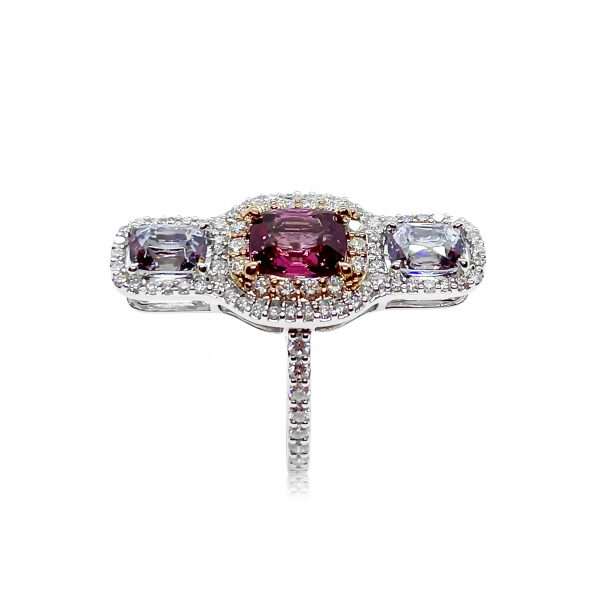 Contemporary 1.62ct Pink and Lilac Spinel Three Stone Ring with Diamonds