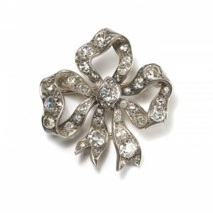 Antique Victorian Old Cut Diamond Bow Brooch, 9.00 carats
