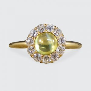 Antique Victorian Cat's Eye and Diamond Ring