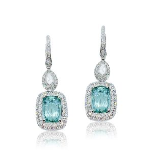 Indicolite Tourmaline and Diamond Cluster Drop Earrings, 6.34 carats