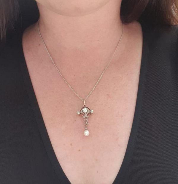 Art Nouveau diamond pendant and pearls
