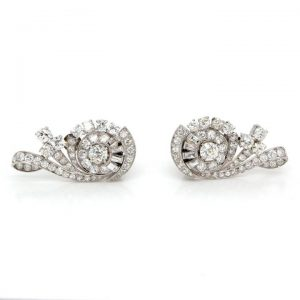 Art Nouveau Diamond Treble Clef Cluster Earrings in Platinum, 5 carats