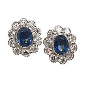 Vintage Sapphire and Diamond Oval Cluster Stud Earrings, 4cts