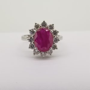 Ruby and Diamond Oval Cluster Ring, 3.00 carats