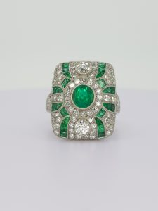 Art Deco Style Emerald and Diamond Cluster Dress Ring, 1.56 carats