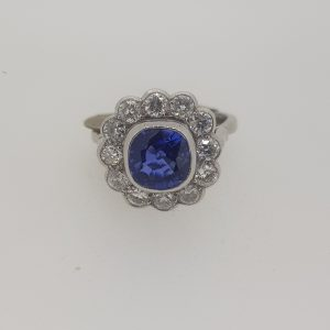 Sapphire and Diamond Floral Cluster Ring